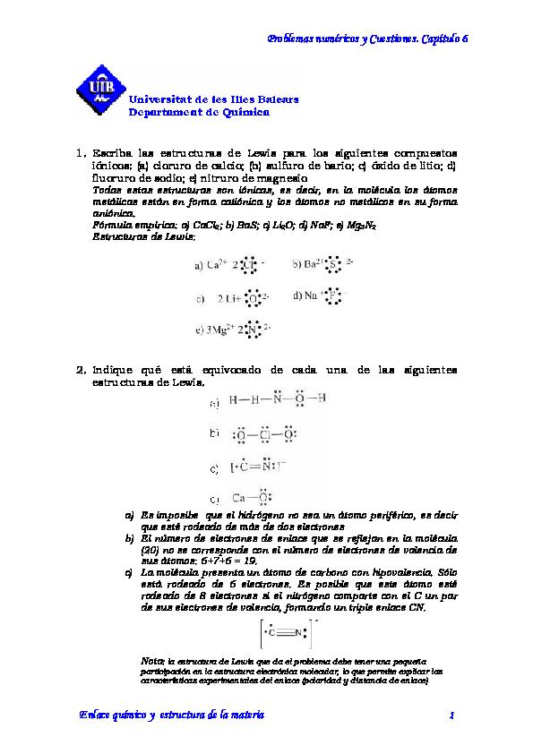 Pdf Problemas Numéricos Y Cuestiones Capítulo 6 Ximena