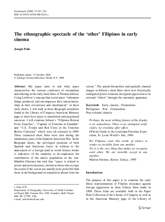 PDF) The ethnographic spectacle of the 'other' Filipinos in