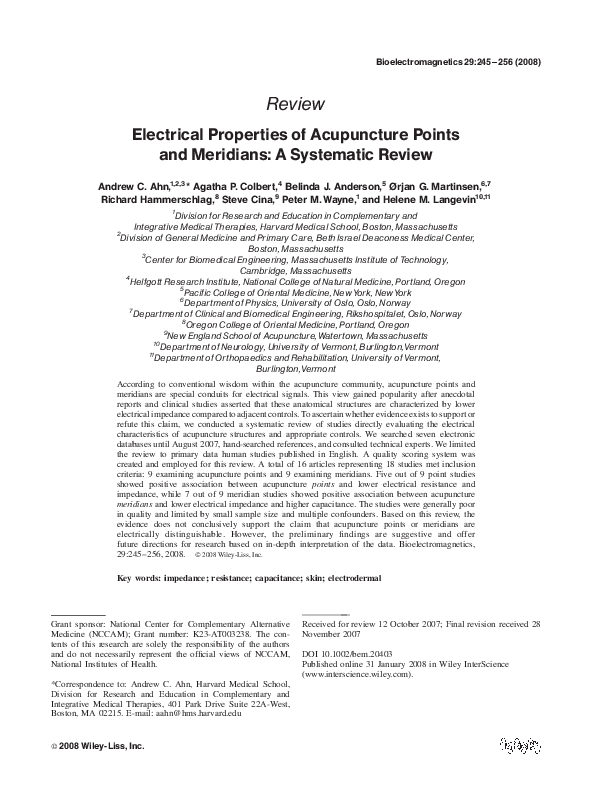 PDF) Electrical properties of acupuncture points and meridians: A