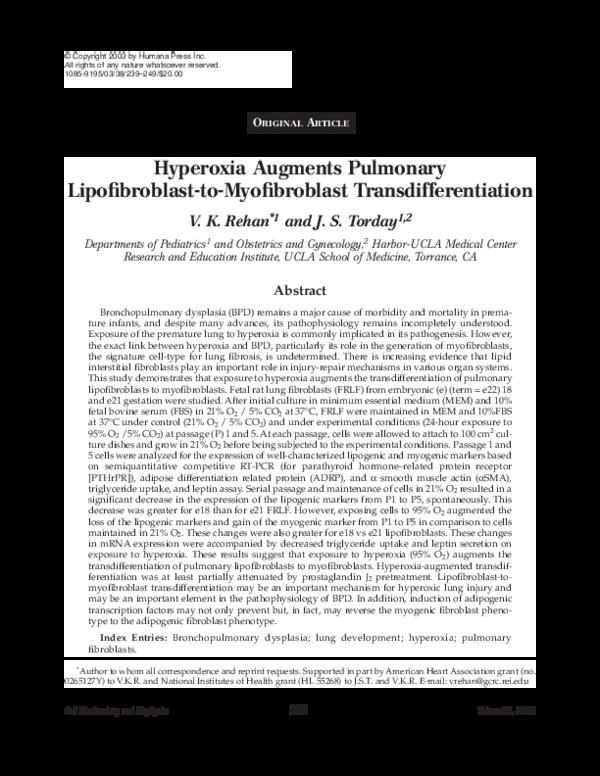 PDF) Hyperoxia Augments Pulmonary Lipofibroblast-to