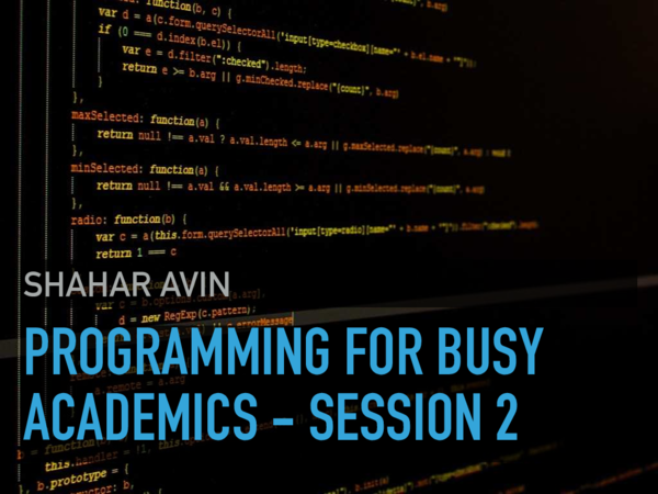PDF) Programming for busy academics - Session 2: How