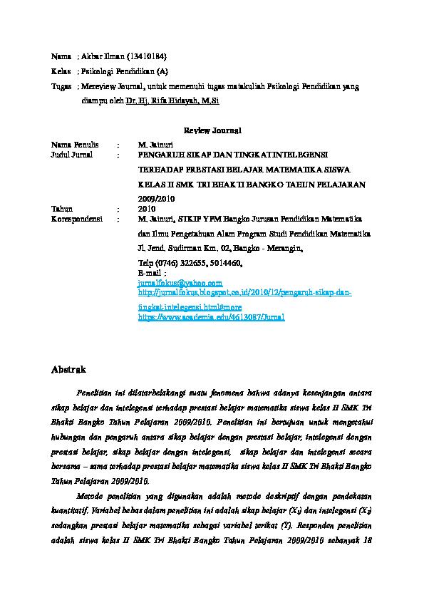 Doc Review Jurnal Psi Pendidikan Docx Akbar Ilman Academia Edu