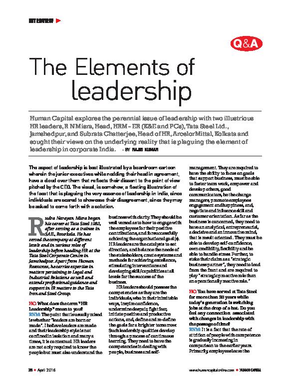 PDF) Elements of Leadership - Interview | Rajib Kumar - Academia edu