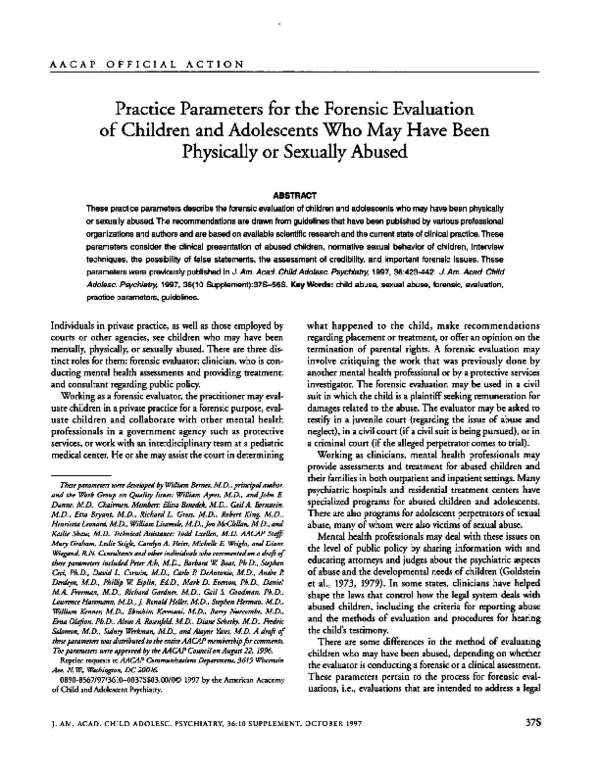 PDF) Practice Parameters for the Forensic Evaluation of
