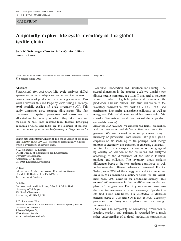 PDF) A spatially explicit life cycle inventory of the global textile