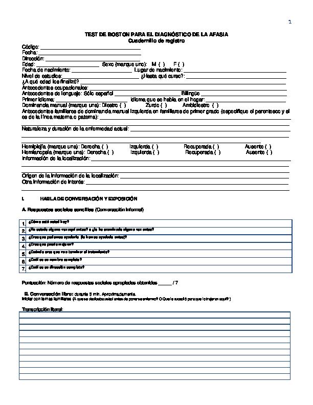 Test de boston pdf