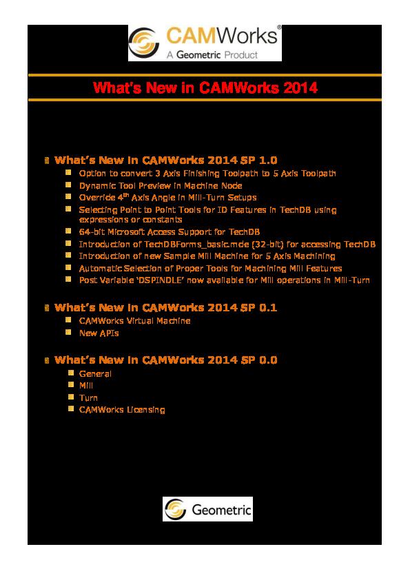 PDF) What's New in CAMWorks 2014 | REYES CONTRERAS RODOLFO