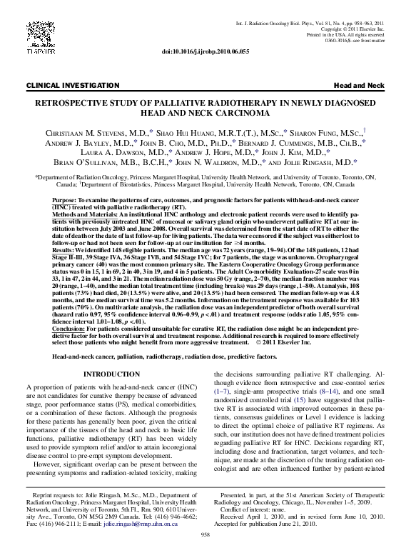 PDF) Retrospective Study of Palliative Radiotherapy in Newly