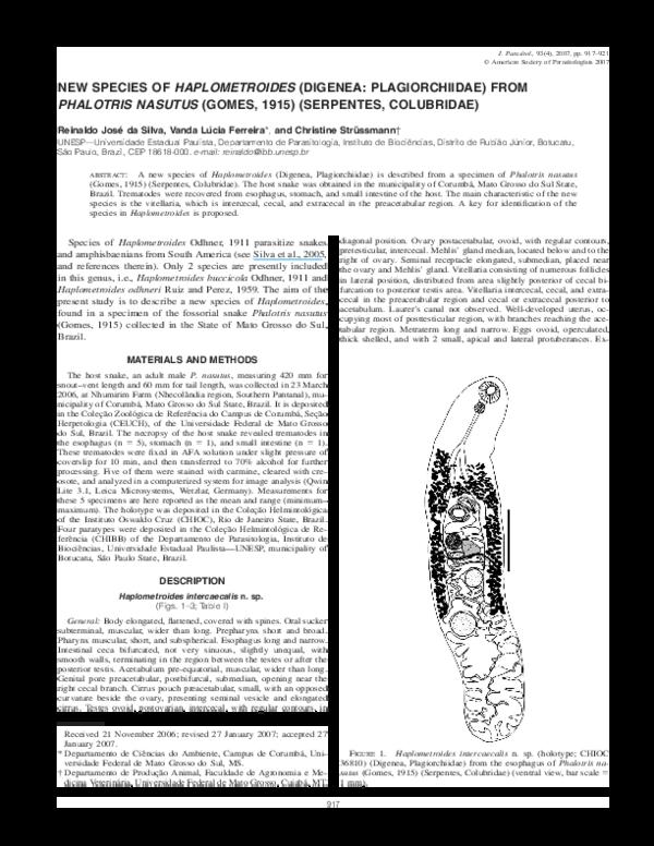 e7d8b85035 NEW SPECIES OF HAPLOMETROIDES (DIGENEA  PLAGIORCHIIDAE) FROM ...