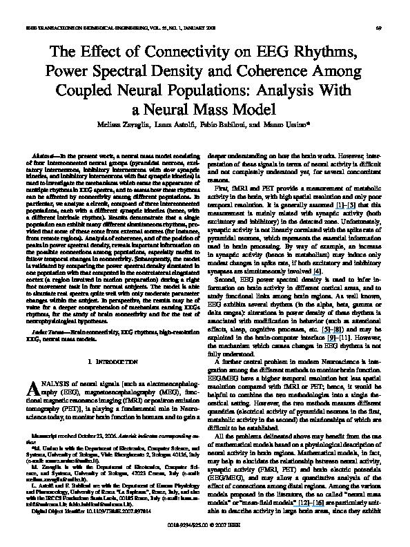 PDF) The Effect of Connectivity on EEG Rhythms, Power