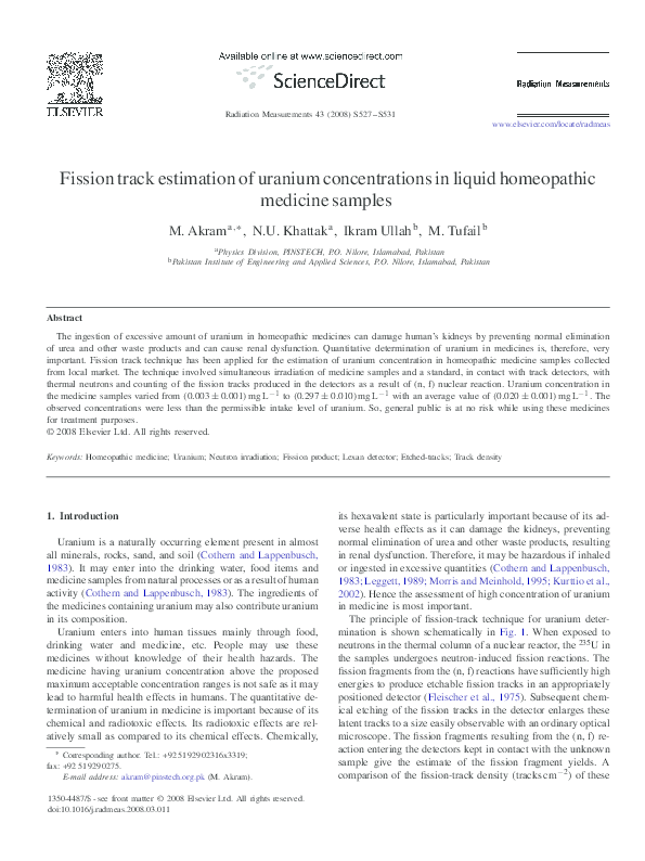 PDF) Fission track estimation of uranium concentrations in