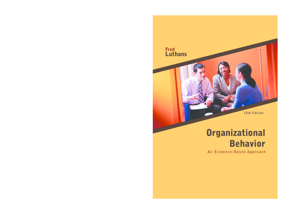 Organizational Behavior By Fred Luthans 12th Edition Pdf