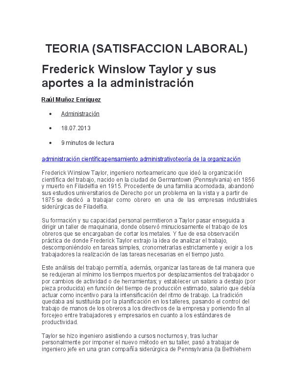Doc Teoria Satisfaccion Laboral Frederick Winslow Taylor