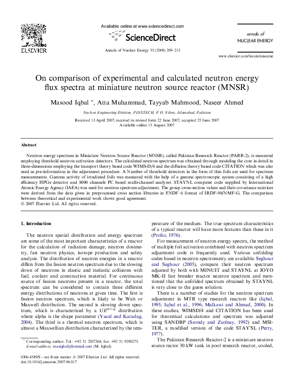 PDF) On comparison of experimental and calculated neutron
