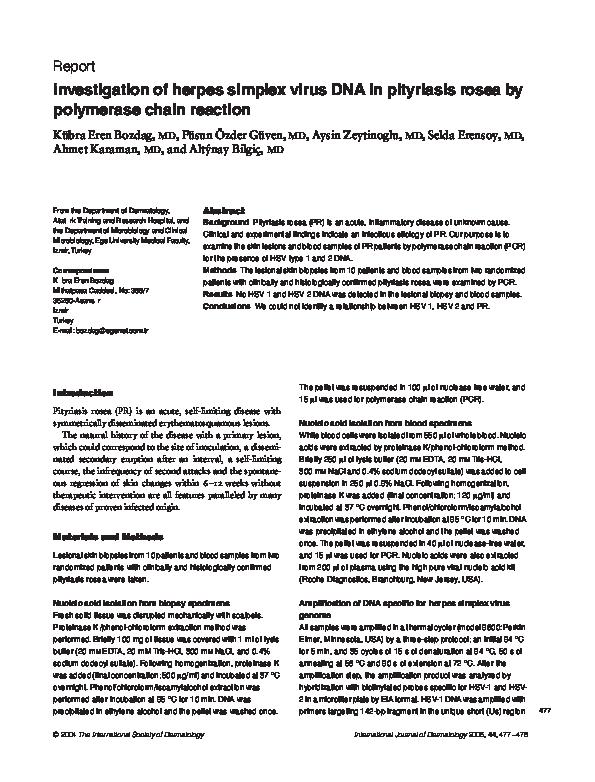 PDF) Investigation of herpes simplex virus DNA in pityriasis rosea