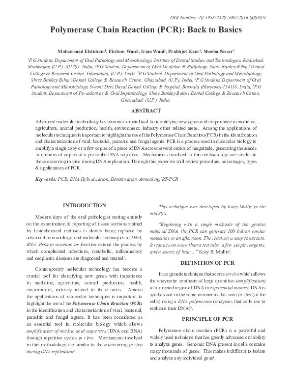 PDF) Polymerase Chain Reaction (PCR): Back to Basics