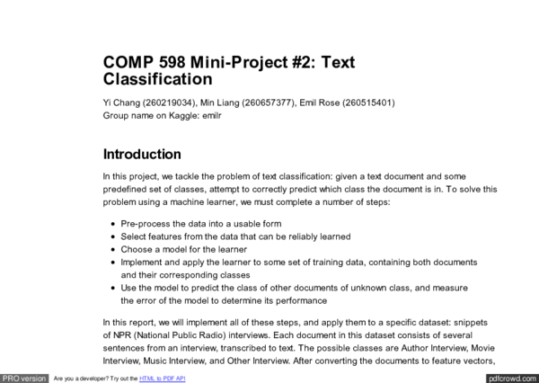 PDF) Text Classification with Machine Learning | Min Liang