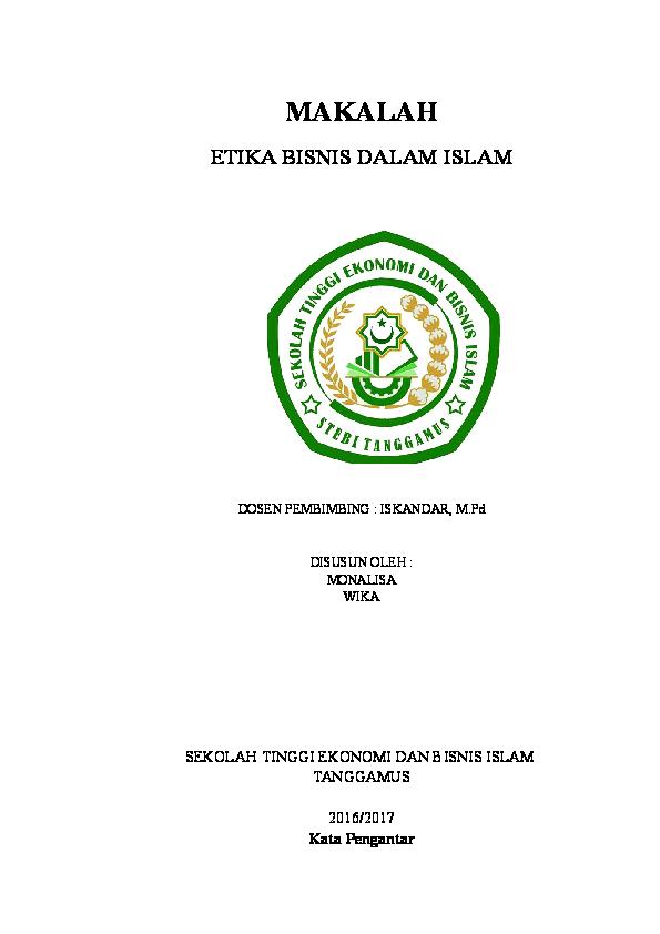 Doc Makalah Etika Bisnis Dalam Islam Wika Wulandari Academia Edu