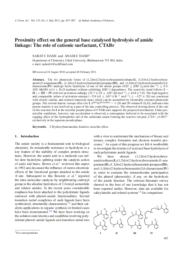 PDF) Proximity effect on the general base catalysed hydrolysis of