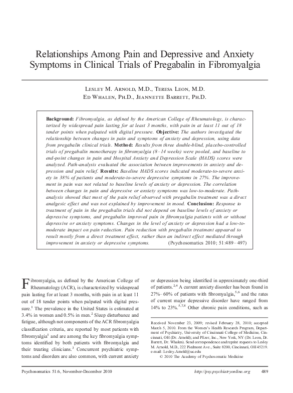 PDF) Relationships Among Pain and Depressive and Anxiety