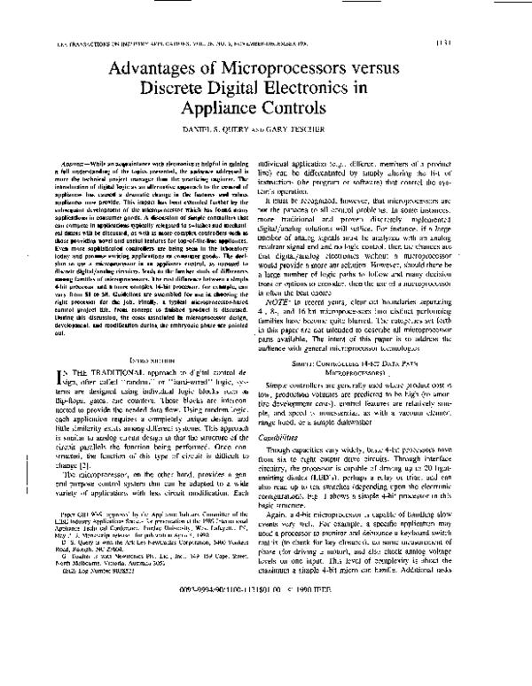 PDF) Advantages of microprocessors versus discrete digital