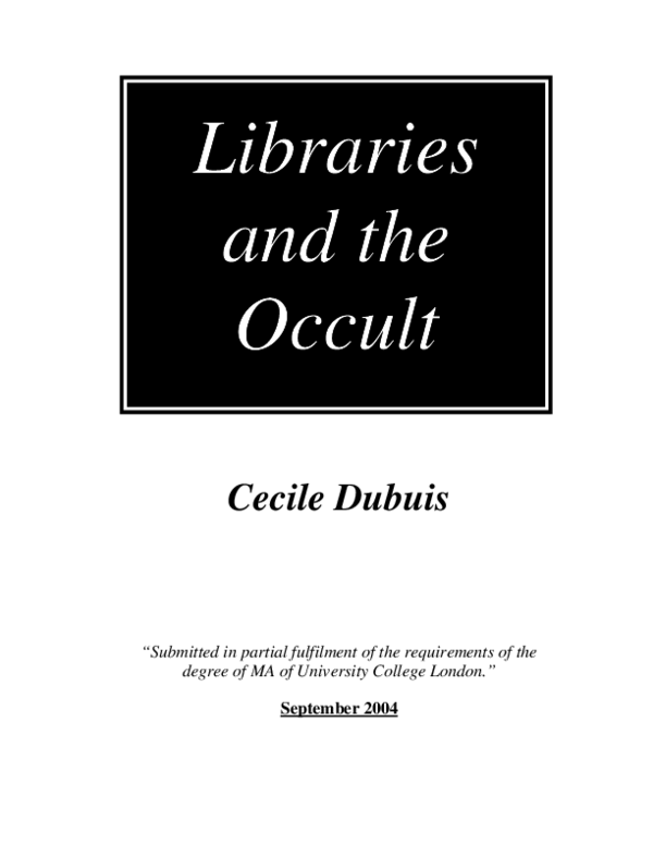 PDF) Libraries and the Occult | Mischa S  - Academia edu