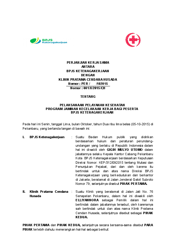 Doc Perjanjian Kerja Sama Antara Bpjs Ketenagakerjaan Dengan Klinik