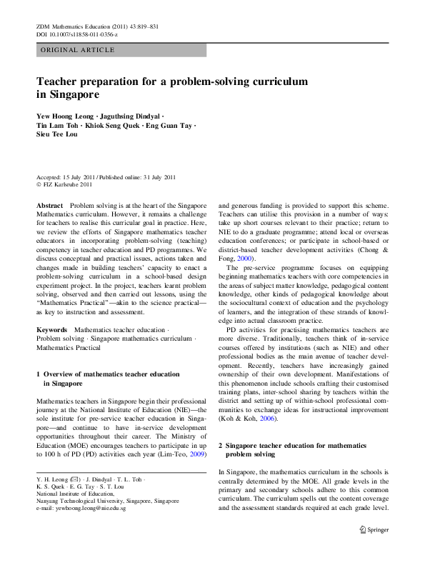 PDF) Teacher preparation for a problem-solving curriculum in