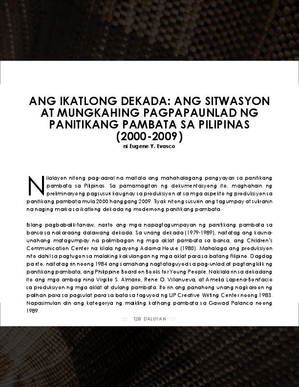 PDF) Ang Ikatlong Dekada: Ang Sitwasyon at Mungkahing