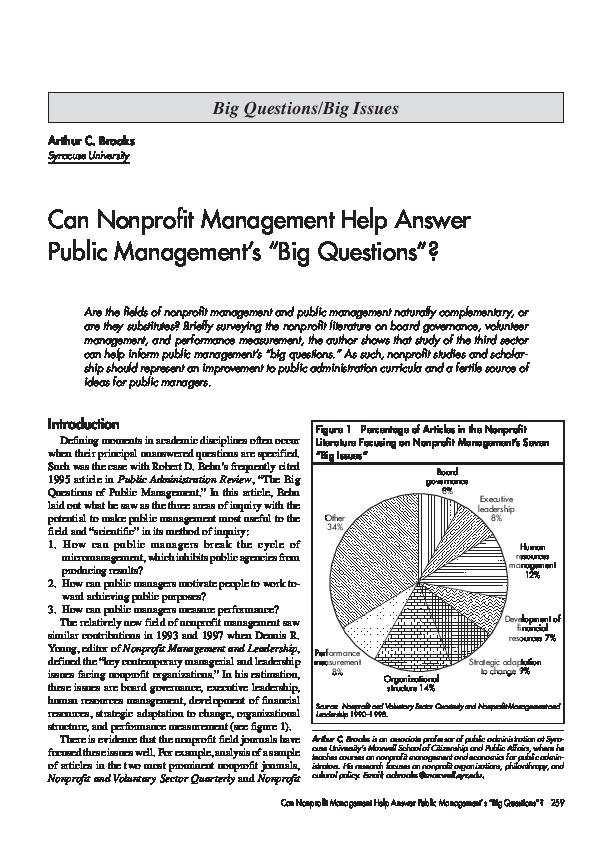 PDF) Can Nonprofit Management Help Answer Public