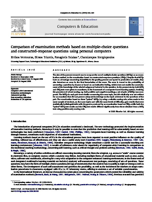 PDF) Comparison of examination methods based on multiple-choice