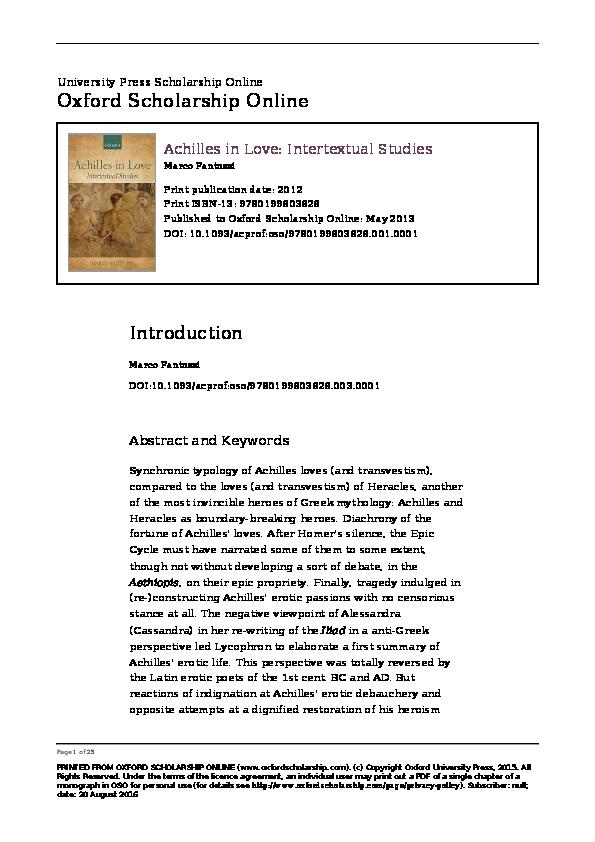 Pdf Achilles In Love Intertextual Studies Oxford Up Oxford 2012 Marco Fantuzzi Academia Edu