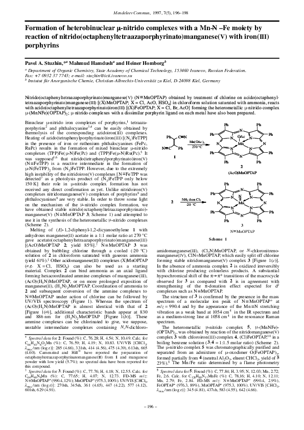 PDF) Formation of heterobinuclear μ-nitrido complexes with a Mn–N–Fe