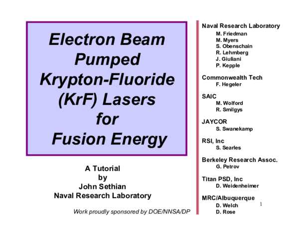 PDF) Electron beam pumped krypton fluoride lasers for fusion energy