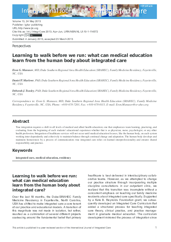 PDF) Learning to walk before we run: what can medical