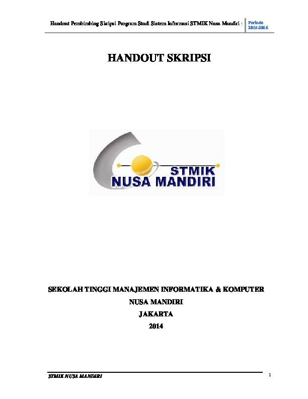 Contoh Skripsi Nusa Mandiri Contoh Soal Dan Materi Pelajaran 8