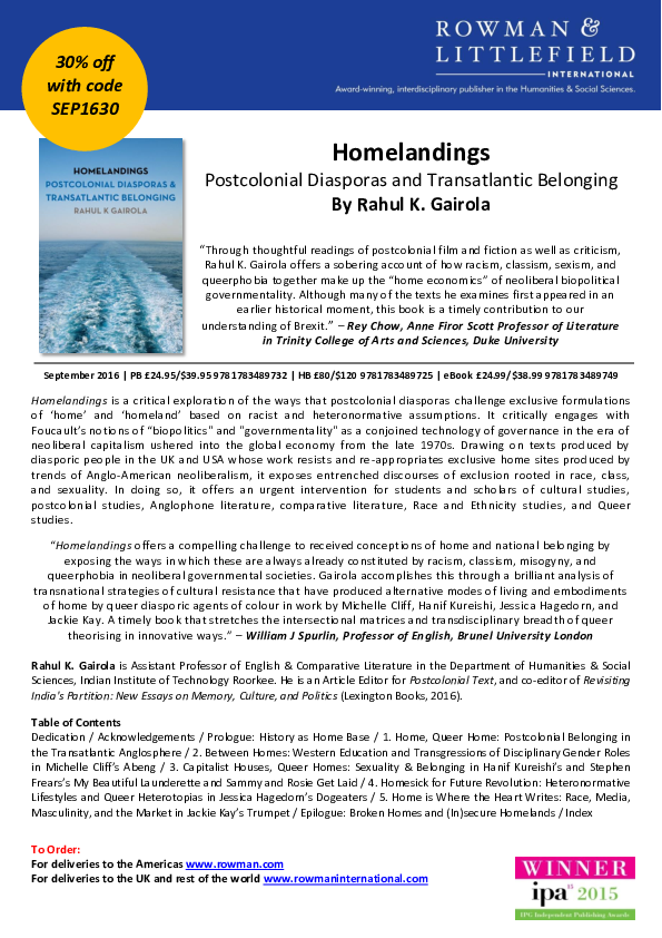 PDF) Homelandings: Postcolonial Diasporas and Transatlantic