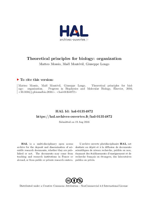 PDF) Theoretical principles for biology: organization