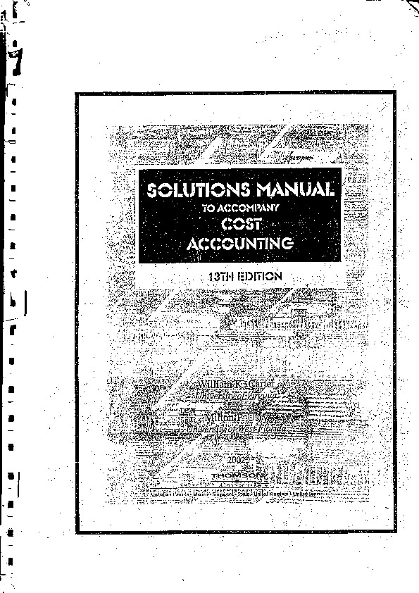 Solution Manual Cost Accounting William K. Carter