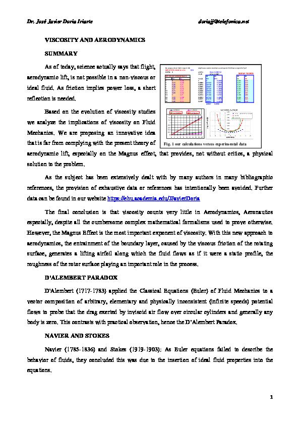 PDF) VISCOSITY AND AERODYNAMICS | J  Javier Doria - Academia edu