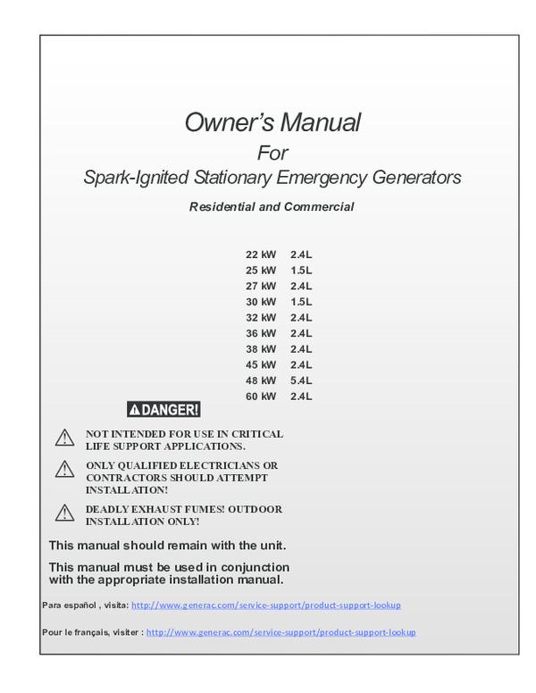Pdf Owner S Manual For Spark Ignited