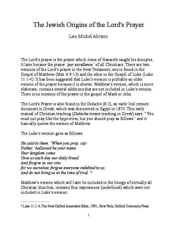 PDF) The Jewish Origins of the Lord's Prayer | Leo M Abrami
