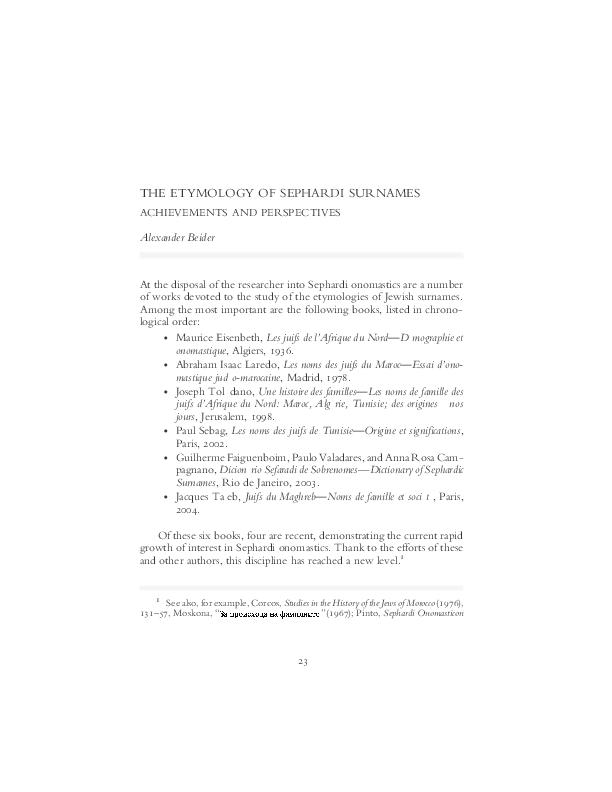 PDF) The etymology of Sephardi surnames: achievements and