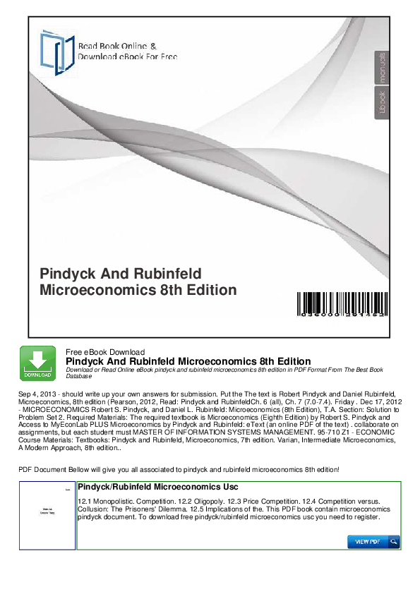 Microeconomics pindyck 7th edition pdf free download.