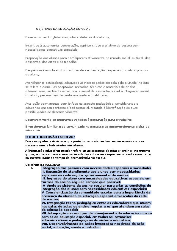 Doc Objetivos Da Educação Especial Milton Gonçalves