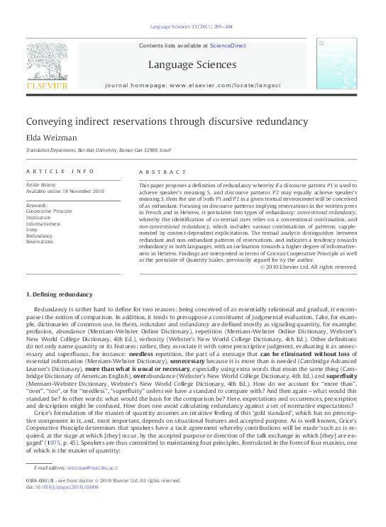PDF) Conveying indirect reservations through discursive redundancy