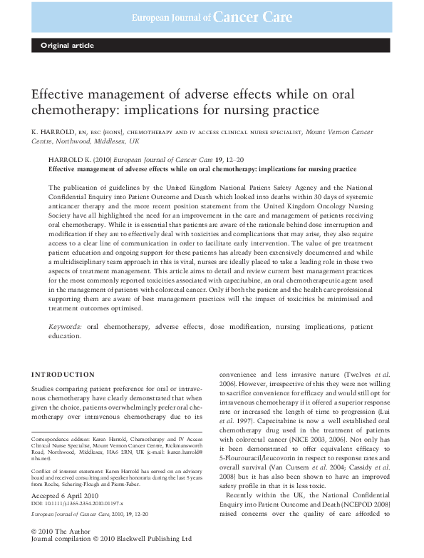 PDF) Effective management of adverse effects while on oral