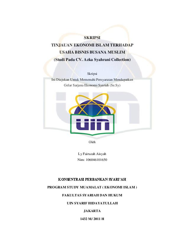 Pdf Skripsi Tinjauan Ekonomi Islam Terhadap Usaha Bisnis Busana
