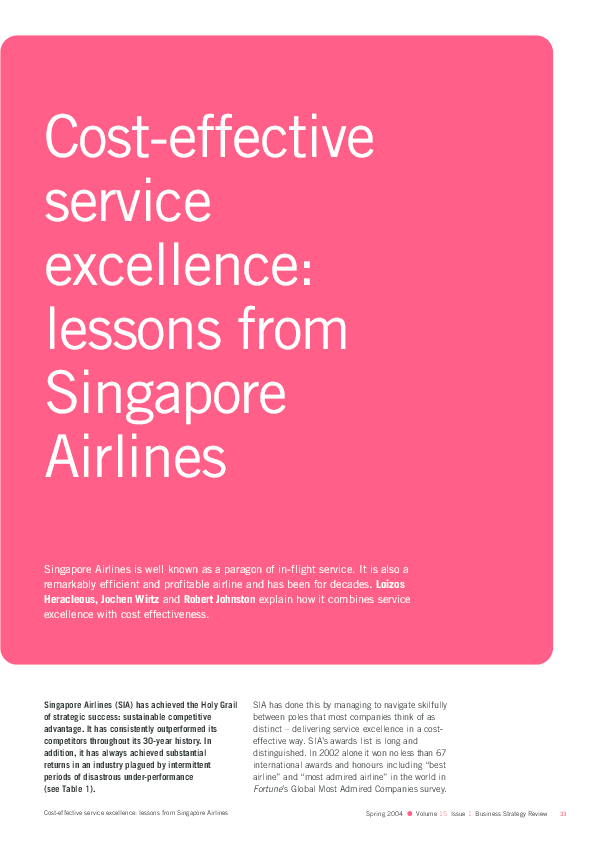 PDF) Cost-Effective Service Excellence: Lessons from