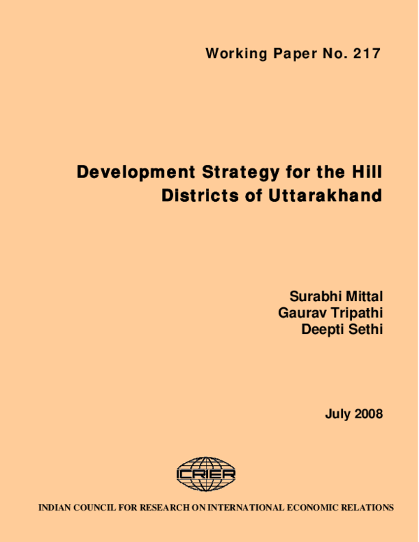 PDF) Development Strategy for the Hill Districts of